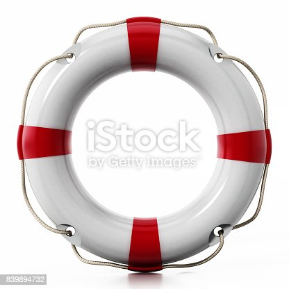 Life buoy isolated on white. Soft reflection on the surface.