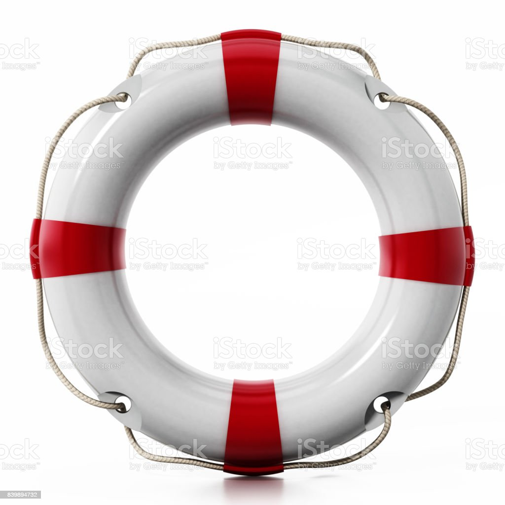 Life buoy isolated on white. Soft reflection on the surface stock photo