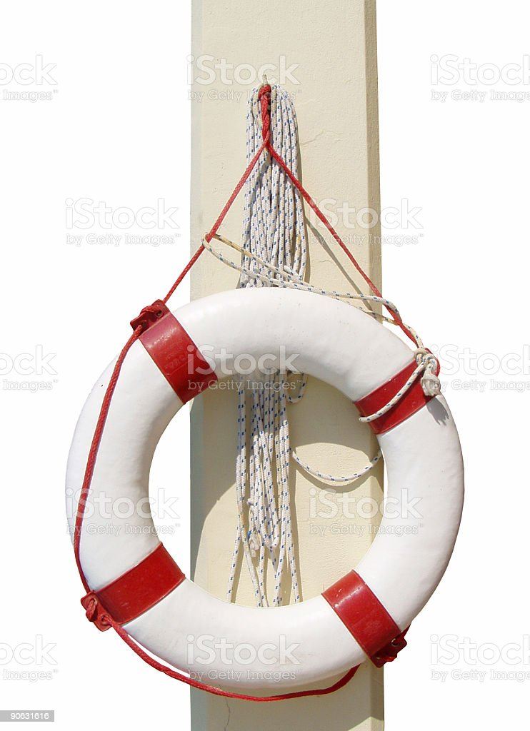 Life buoy on a column isolated royalty-free stock photo