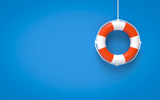 Life Buoy On Blue Background stock photo