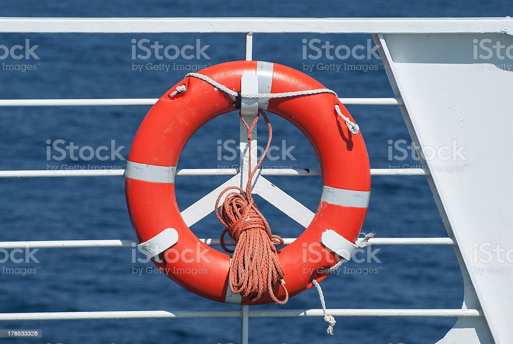 Life buoy on ferry crossing the mediterranean sea royalty-free stock photo