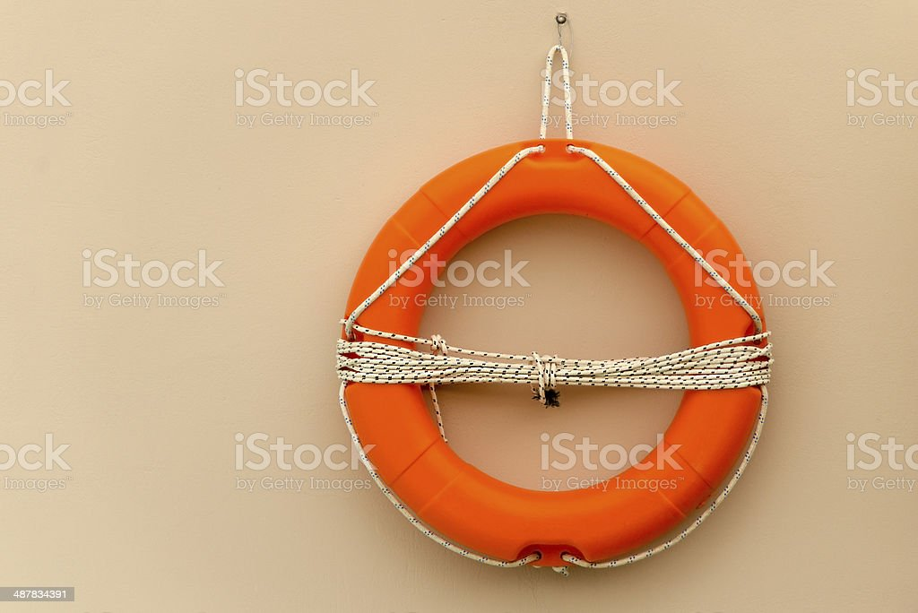 Life buoy with rope royalty-free stock photo