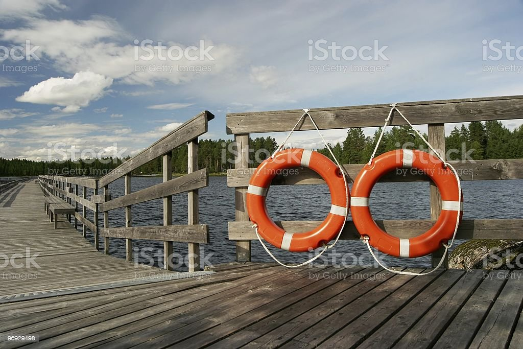 Life Buoys and Wooden Quay royalty-free stock photo