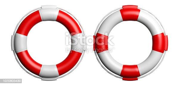 Life buoys isolated on white background. 3d illustration