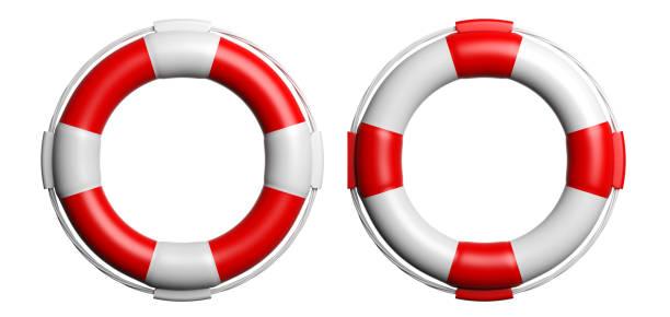 Life buoys on white background. 3d illustration stock photo