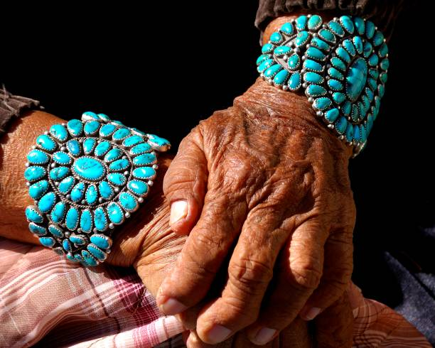Life Celebration Turquoise bracelets worn by Navajo grandmother. Each stone represents a significant life event she celebrates indigenous peoples of the americas stock pictures, royalty-free photos & images