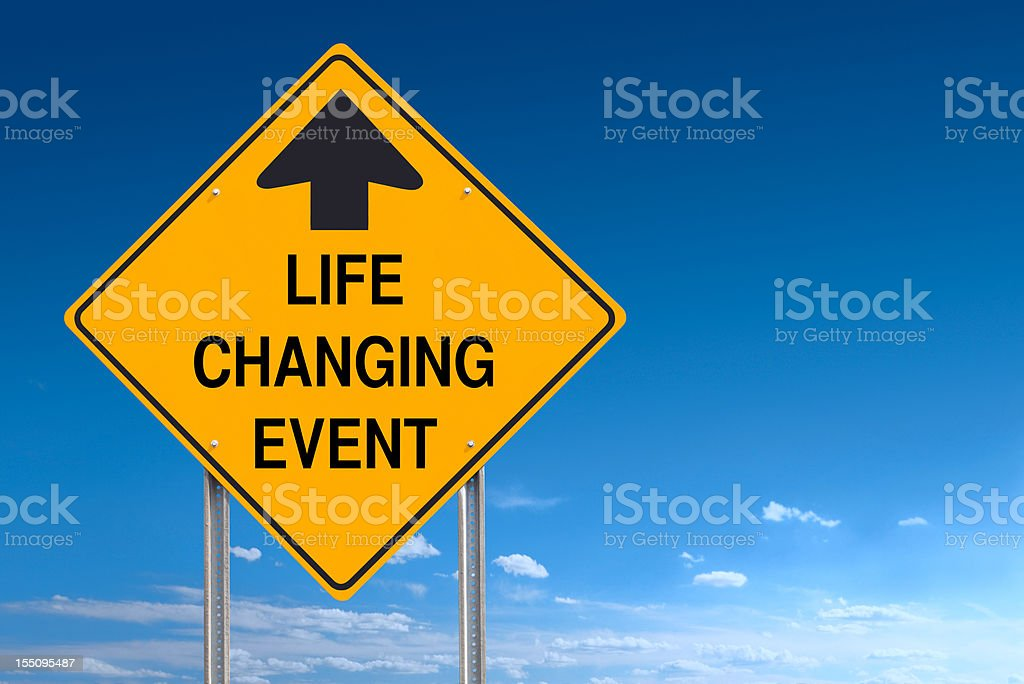 Life Changing Event Ahead Road Traffic Sign Post over Sky stock photo