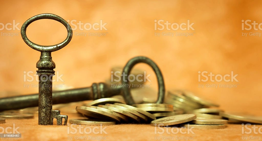 Key and money coins - life coaching concept banner