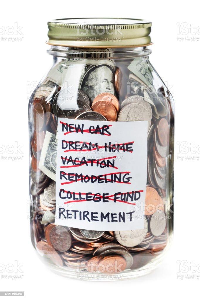 Life Financial Goals Saving Jar of Money on White Background royalty-free stock photo