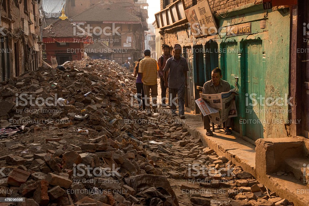 Life goes on in Bhaktapur, Nepal after earthquake stock photo