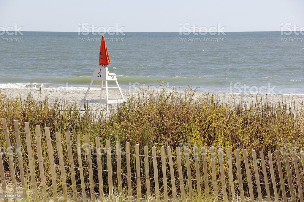 Life Guard Chair on Deserted Myrtle Beach, SC stock photo