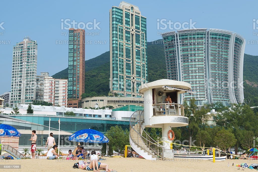 Life guard on duty, Stanley town beach, Hong Kong, China. stock photo