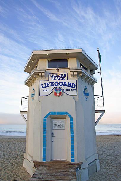 life guard station at laguna beach, california - badvaktshytt bildbanksfoton och bilder