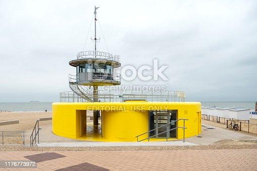 Knokke, Belgium - September 11, 2019: A modern lifeguard station at the beach in Knokke, Belgium - North Sea