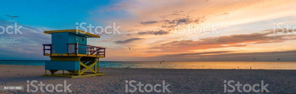Life guard sunrise stock photo