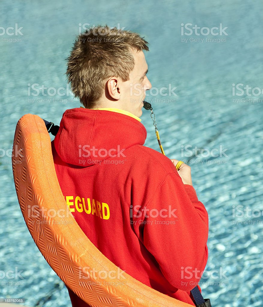 Life Guard Watching Swimming Pool royalty-free stock photo