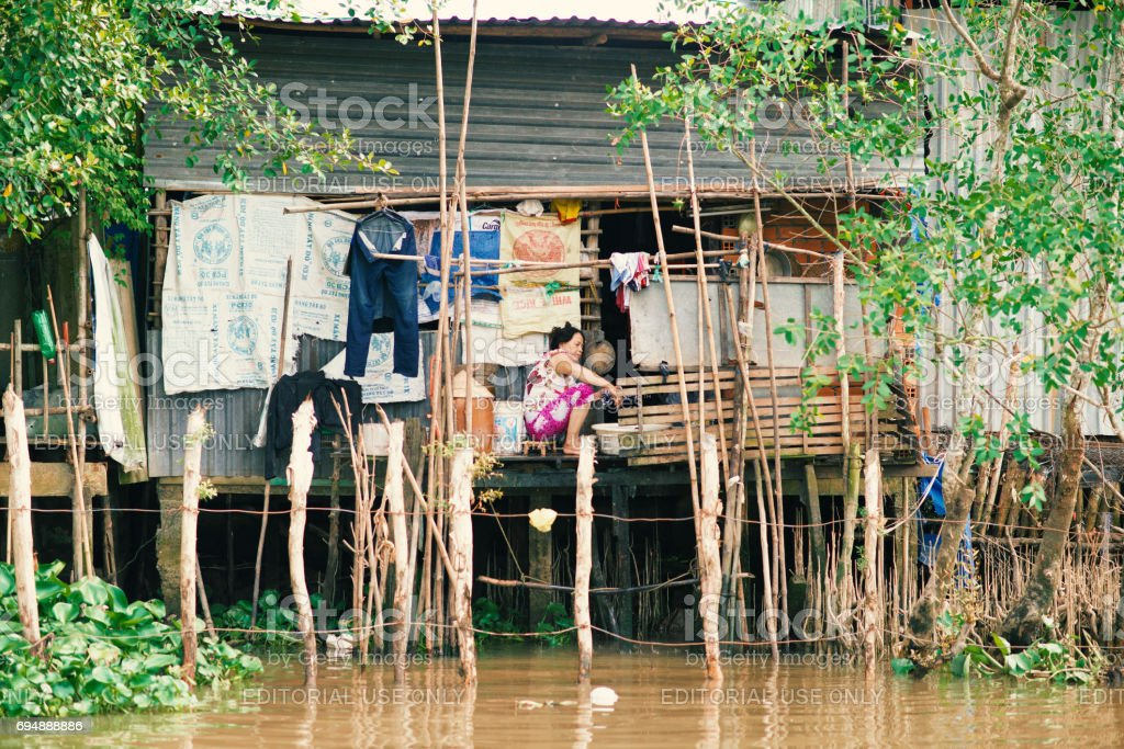 Life in floating house stock photo