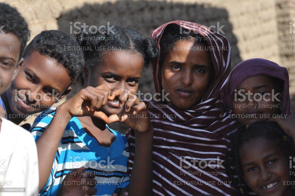 Life in sahara village of Sudan stock photo