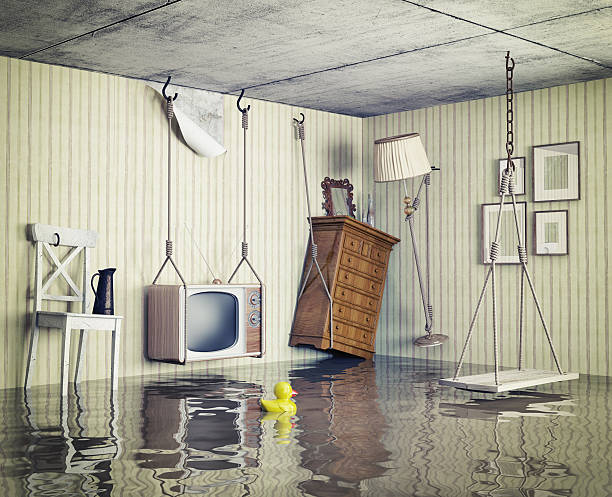 das leben in der lichtdurchfluteten flachbildfernseher - disaster design stock-fotos und bilder
