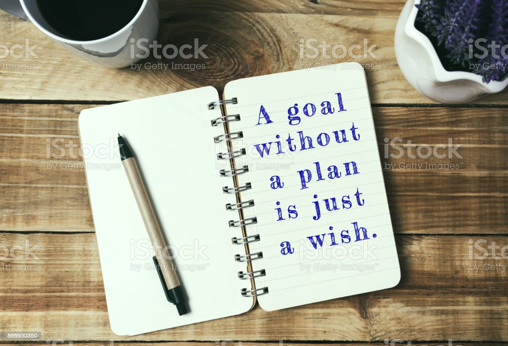 Life inspirational quotes - A goal without a plan is just a wish. stock photo