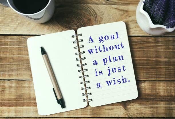 inspirierende zitate leben - ein ziel ohne plan ist nur ein wunsch. - danke zitate stock-fotos und bilder