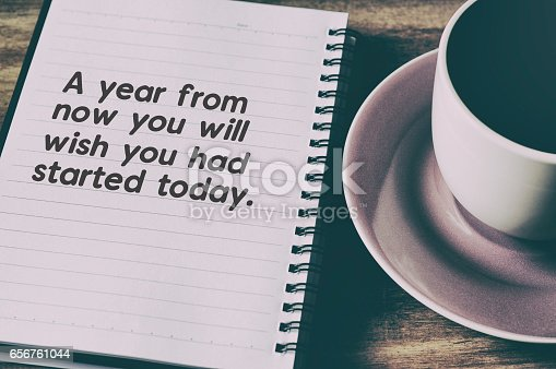 istock Life Inspirational Quotes on Note Pad with Coffee 656761044