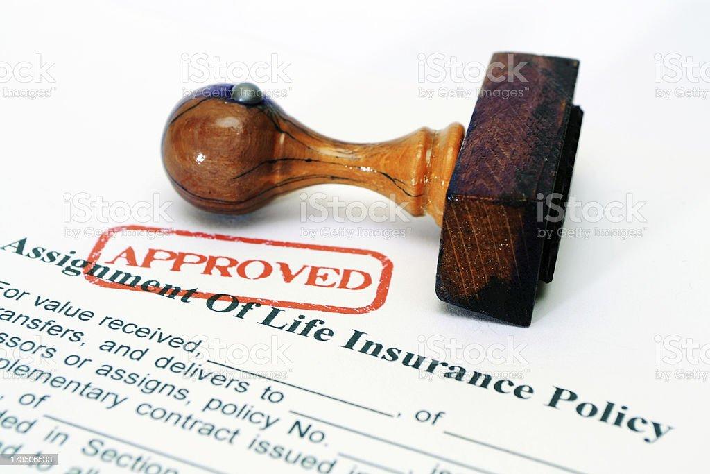 Life insurance policy stock photo