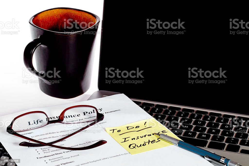 Life Insurance Policy with Coffee and Reminder stock photo