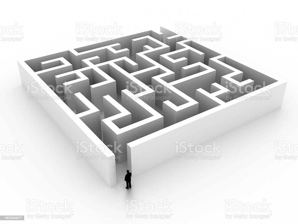 Life is a Labyrinth  (isolated on white) stock photo