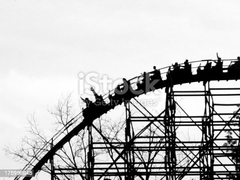 High contrast, B&W wooden rollercoaster