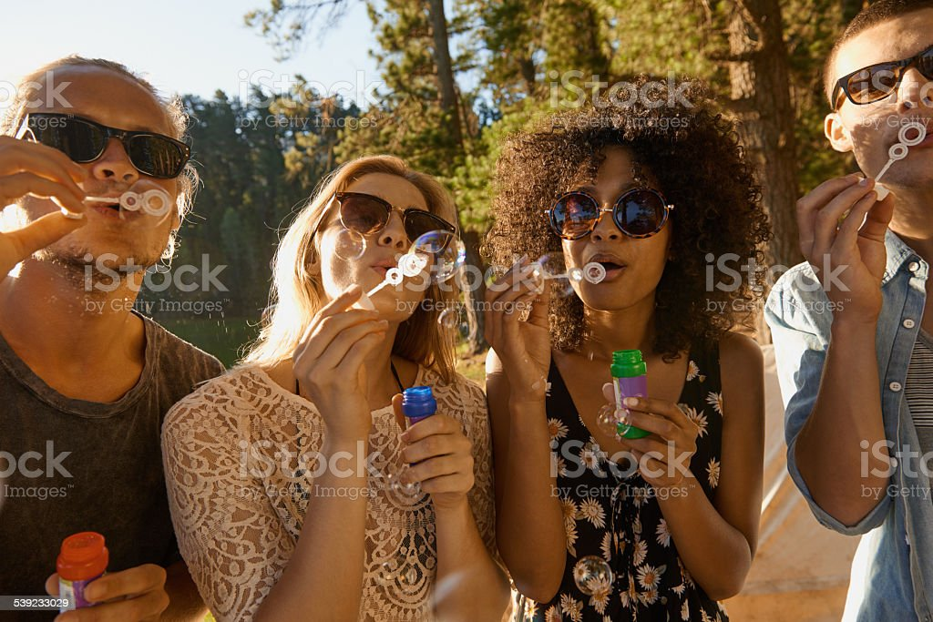 Life is better when you're blowing bubbles royalty-free stock photo