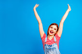 Life is good great! Sale discount hot summer weekend concept. Close up studio photo portrait of pretty astonished attractive active lady holding hands up isolated on bright vivid shine background