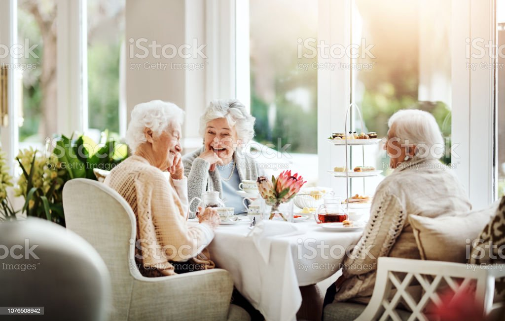 Life is like tea, best enjoyed with friends Shot of happy senior women having tea together at a retirement home Adult Stock Photo