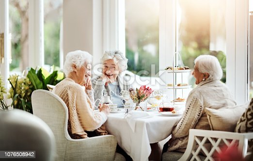 Shot of happy senior women having tea together at a retirement home