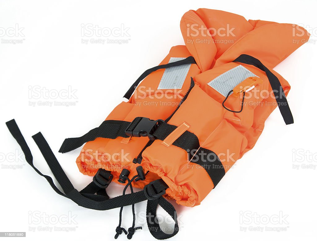 life jacket isolated on white stock photo