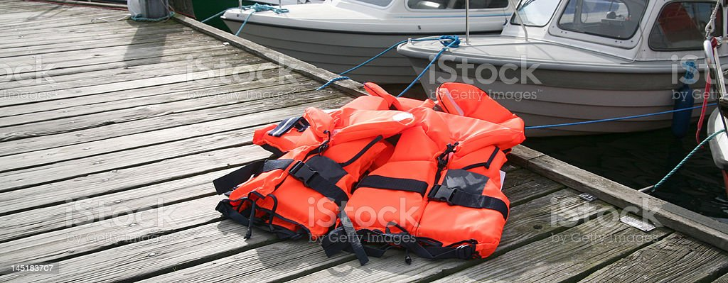 Life Jacket on deck stock photo