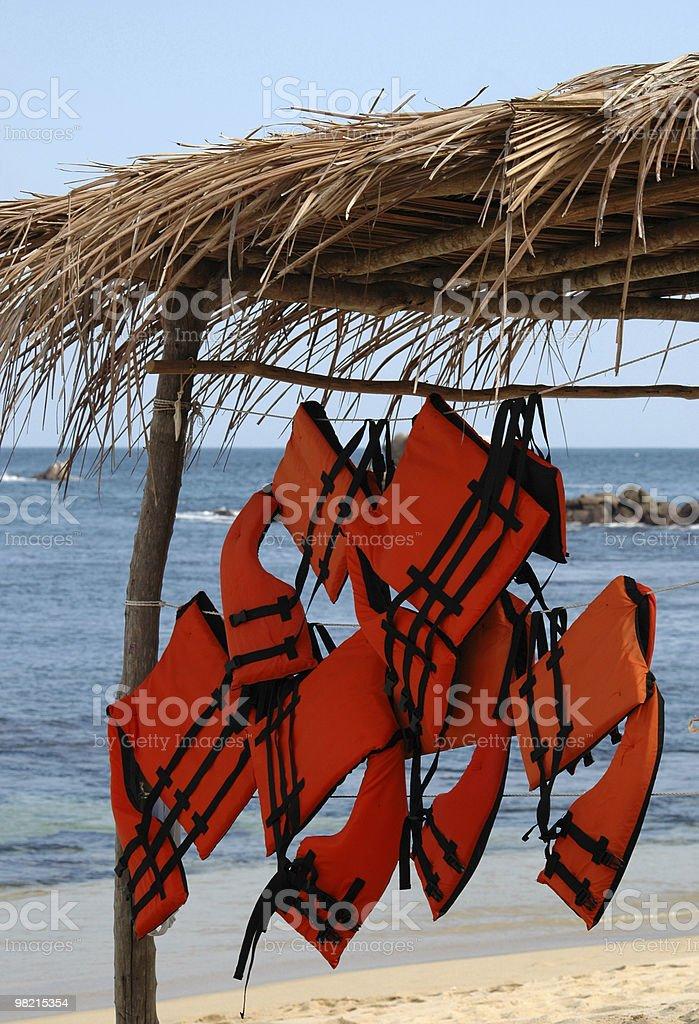Life jackets at the beach royalty-free stock photo