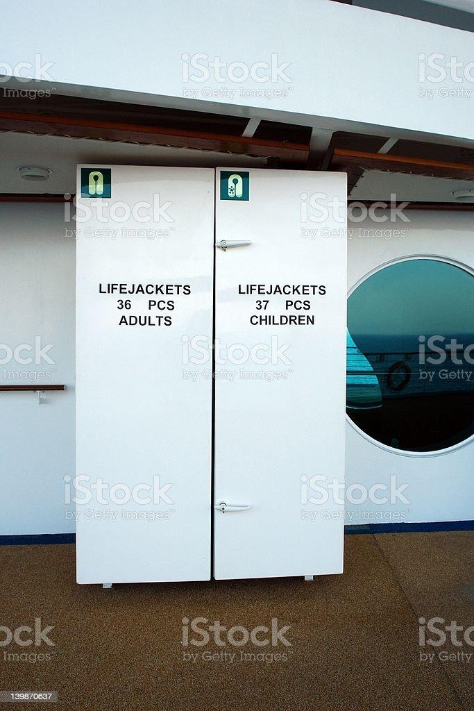 Life Jackets on Cruise Ship royalty-free stock photo