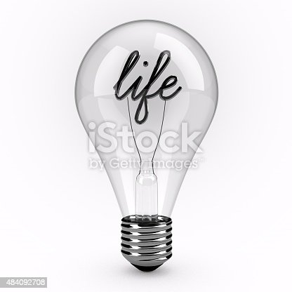A 3d render of a glass lightbulb. The lightbulb is standing upright on a plain white background. Inside the bulb is the word life which is made to look like the filament.