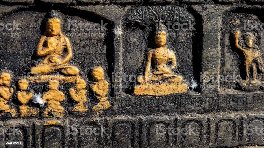 Vida de Buda tallada en piedra - foto de stock
