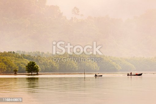 Life of fishermen in the river mouth area. In Koh Chang, Trat Province, Thailand.
