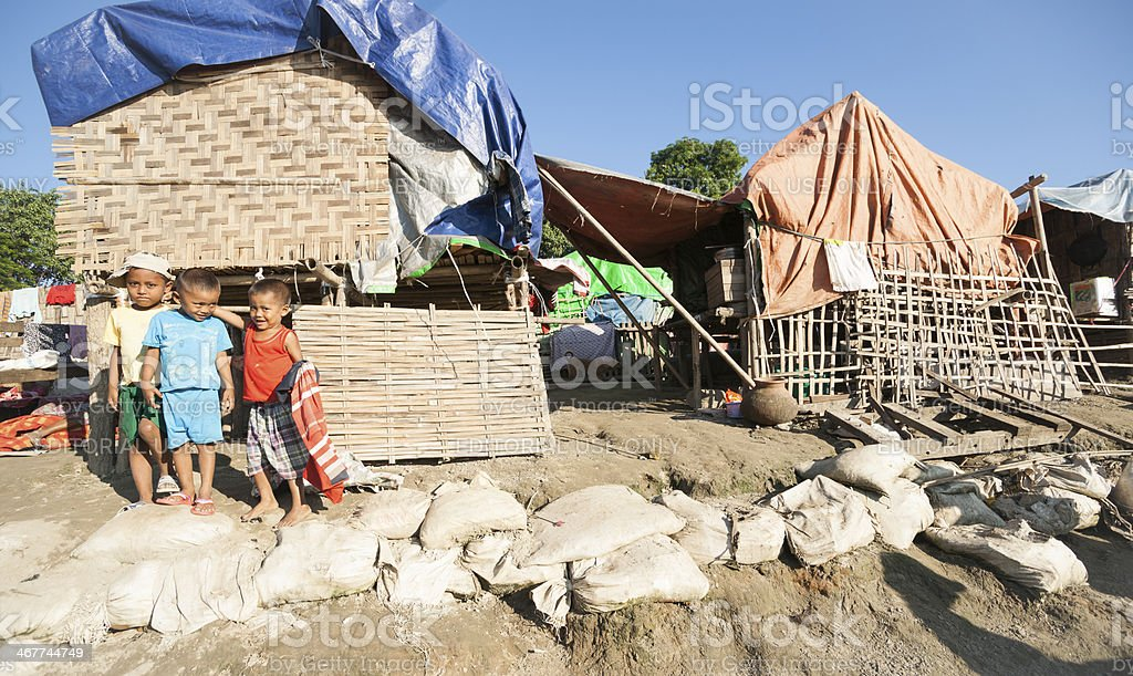 Life on Irrawaddy River, Myanmar. royalty-free stock photo