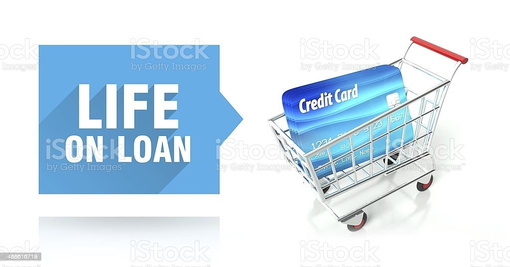 Life on loan. credit card and shopping cart stock photo