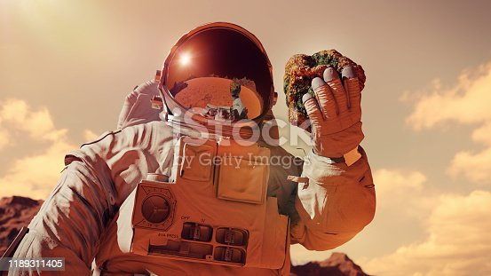 istock life on planet Mars, astronaut discovers bacterial life on the surface of a rock 1189311405