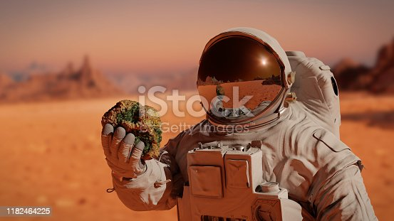 istock life on planet Mars, astronaut discovers tiny martians (3d science illustration) 1182464225