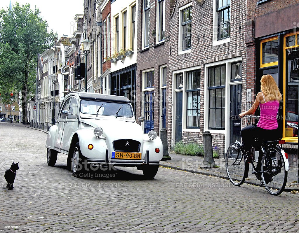 Life on the cobbles, Amsterdam stock photo