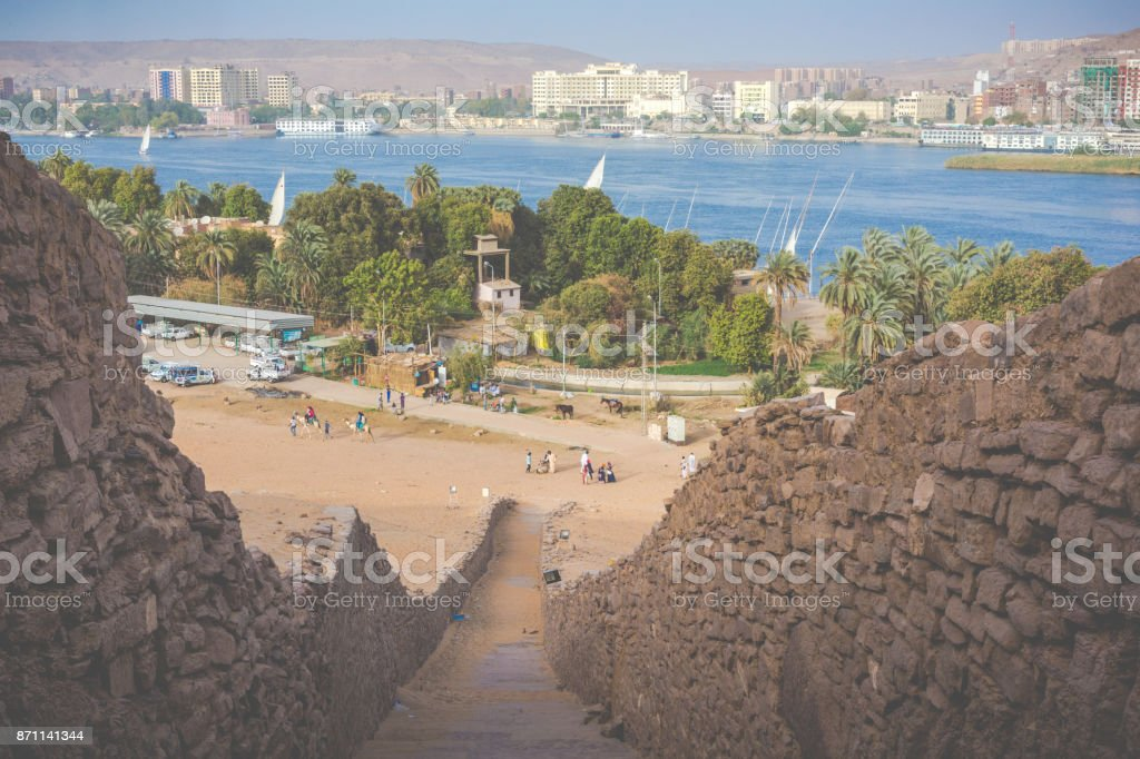 Life on the River Nile. Aswan, Egypt. stock photo