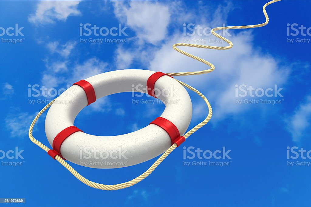 Life preserver in sky. stock photo