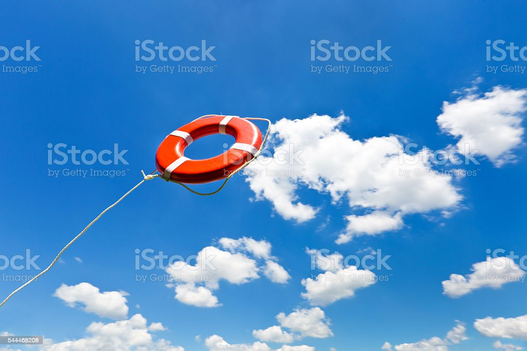 life Preserver Lifesaver, Thrown in Mid-air for Rescue stock photo