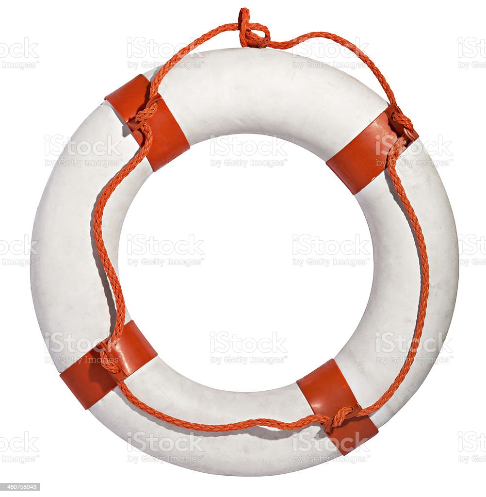 Life preserver with red rope stock photo